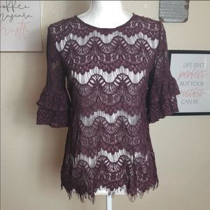 🌟2/$20 INNY Burgundy Lace Blouse